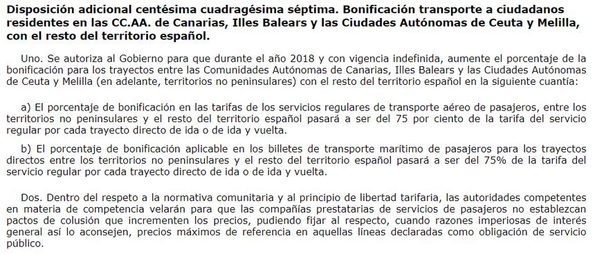 Ley del PGE de 2018 75% bonificación
